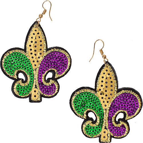 Sequin Mardi Gras Fleur-de-Lis Earrings Image #1