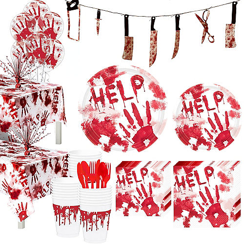 Bloody Hands Tableware Kit for 36 Guests Image #1