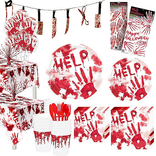 Bloody Hands Tableware Kit for 56 Guests Image #1