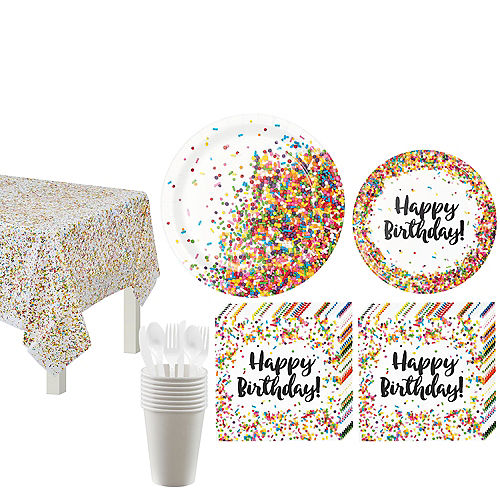 Rainbow Sprinkles Birthday Tableware Kit for 8 Guests Image #1