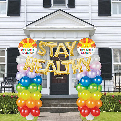 Rainbow Balloon Columns with Stay Healthy Banner Kit Image #1
