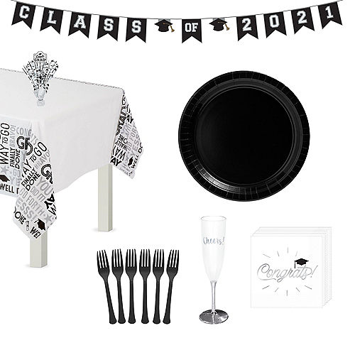 Graduation Cap Black & White Tableware Kit for 8 Guests Image #1