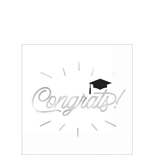 Graduation Cap Black & White Tableware Kit for 8 Guests Image #4