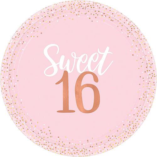 Metallic Rose Gold & Pink Sweet 16 Tableware Kit for 8 Guests Image #3