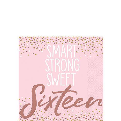 Metallic Rose Gold & Pink Sweet 16 Tableware Kit for 8 Guests Image #4