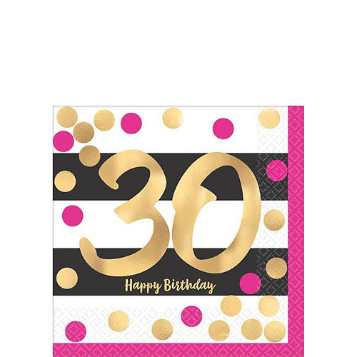 Metallic Pink & Gold 30th Birthday Tableware Kit for 8 Guests Image #2