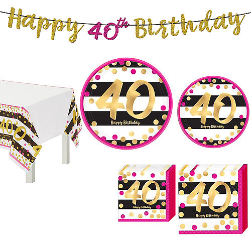 Metallic Pink & Gold 40th Birthday Tableware Kit for 8 Guests Image #1