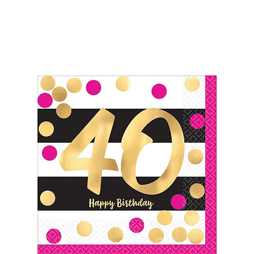 Metallic Pink & Gold 40th Birthday Tableware Kit for 8 Guests Image #2
