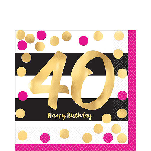 Metallic Pink & Gold 40th Birthday Tableware Kit for 8 Guests Image #3