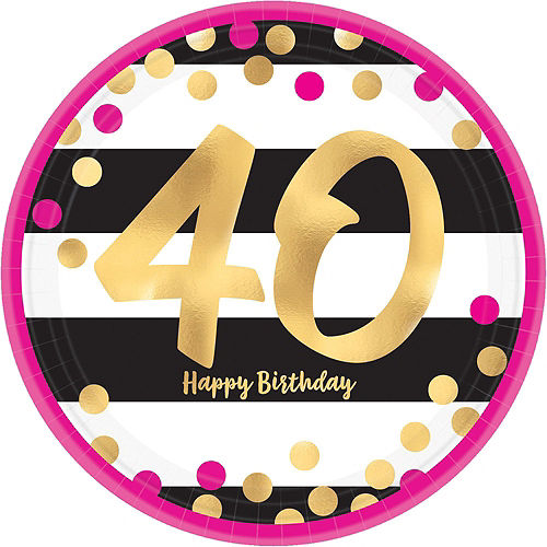 Metallic Pink & Gold 40th Birthday Tableware Kit for 8 Guests Image #5