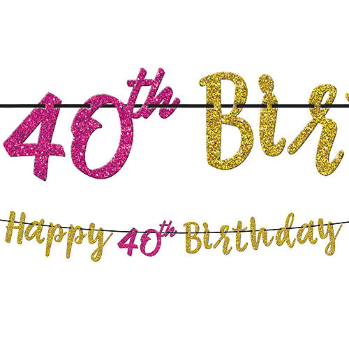 Metallic Pink & Gold 40th Birthday Tableware Kit for 8 Guests Image #7