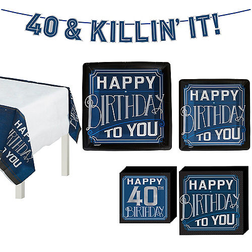 Vintage Happy 40th Birthday Tableware Kit for 8 Guests Image #1