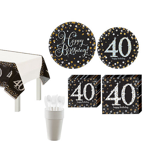 Sparkling Celebration 40th Birthday Tableware Kit for 8 Guests Image #1