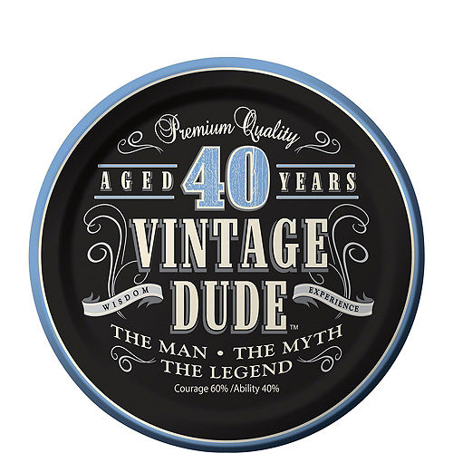 Vintage Dude 40th Birthday Tableware Kit for 8 Guests Image #2