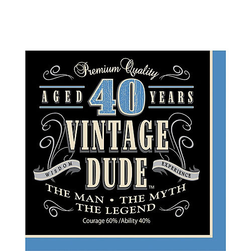 Vintage Dude 40th Birthday Tableware Kit for 8 Guests Image #5