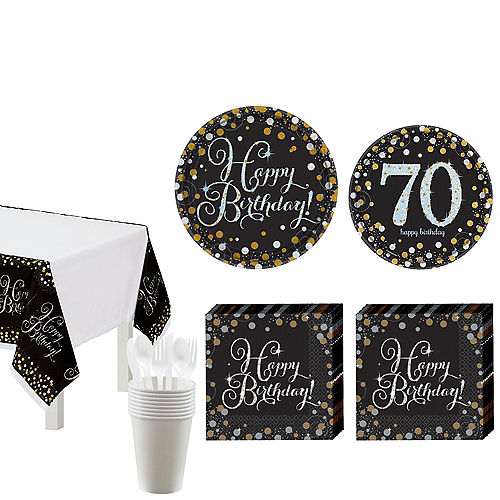 Sparkling Celebration 70th Birthday Tableware Kit for 8 Guests Image #1