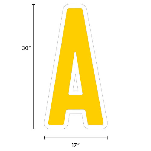 Giant Yellow Corrugated Plastic Letter (A) Yard Sign, 30in Image #2