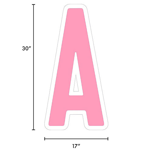 Giant Pink Corrugated Plastic Letter (A) Yard Sign, 30in Image #2