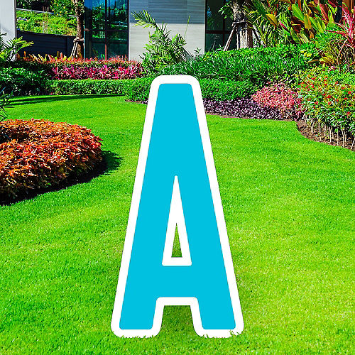 Giant Caribbean Blue Corrugated Plastic Letter (A) Yard Sign, 30in Image #1