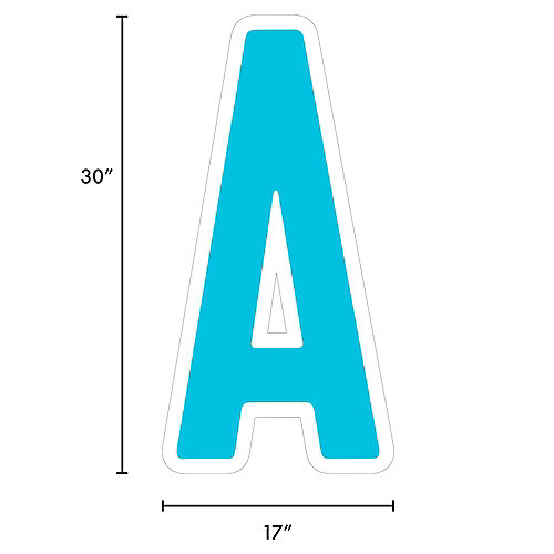 Giant Caribbean Blue Corrugated Plastic Letter (A) Yard Sign, 30in Image #2