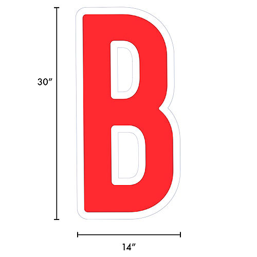 Giant Red Corrugated Plastic Letter (B) Yard Sign, 30in Image #2