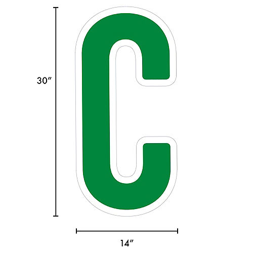 Giant Festive Green Corrugated Plastic Letter (C) Yard Sign, 30in Image #2