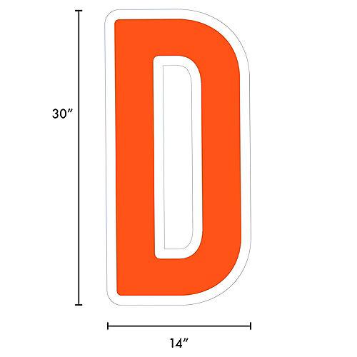 Giant Orange Corrugated Plastic Letter (D) Yard Sign, 30in Image #2