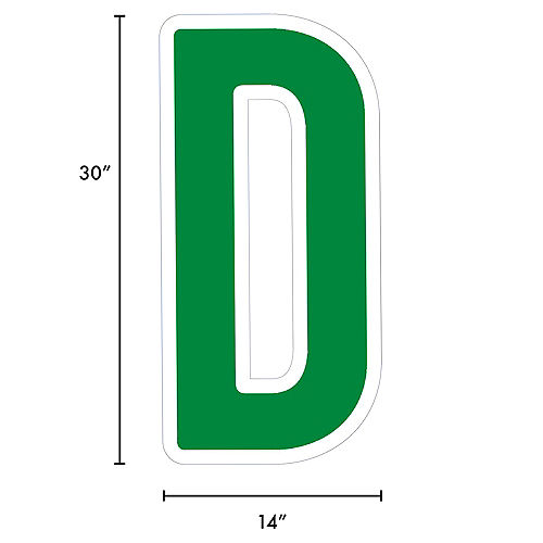Giant Festive Green Corrugated Plastic Letter (D) Yard Sign, 30in Image #2