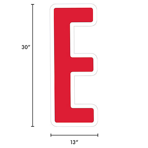 Giant Red Corrugated Plastic Letter (E) Yard Sign, 30in Image #2