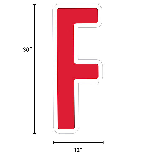 Giant Red Corrugated Plastic Letter (F) Yard Sign, 30in Image #2
