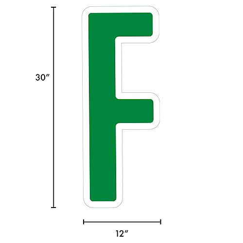Giant Festive Green Corrugated Plastic Letter (F) Yard Sign, 30in Image #2