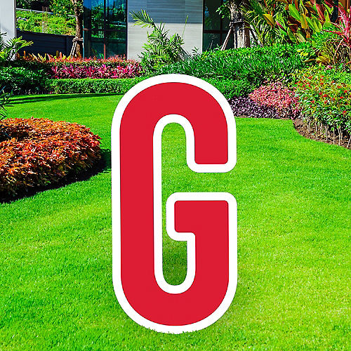 Giant Red Corrugated Plastic Letter (G) Yard Sign, 30in Image #1