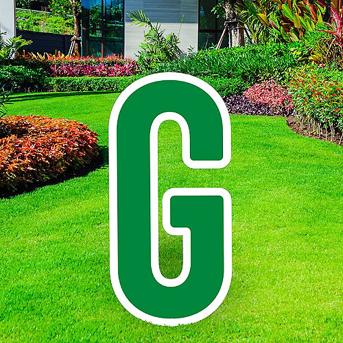 Giant Festive Green Corrugated Plastic Letter (G) Yard Sign, 30in Image #1