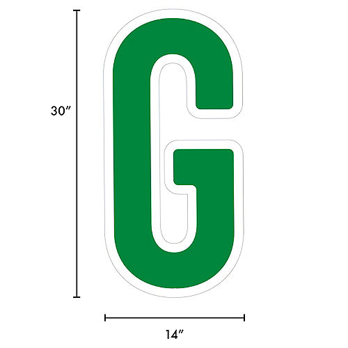 Giant Festive Green Corrugated Plastic Letter (G) Yard Sign, 30in Image #2