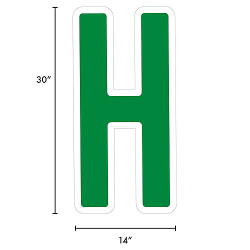Giant Festive Green Corrugated Plastic Letter (H) Yard Sign, 30in Image #2