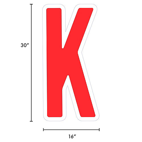 Giant Red Corrugated Plastic Letter (K) Yard Sign, 30in Image #2