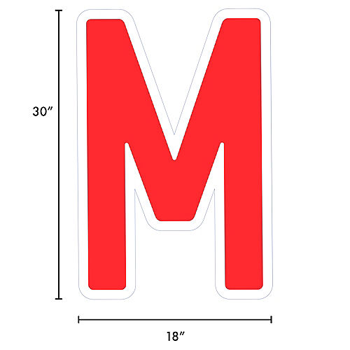 Giant Red Corrugated Plastic Letter (M) Yard Sign, 30in Image #2