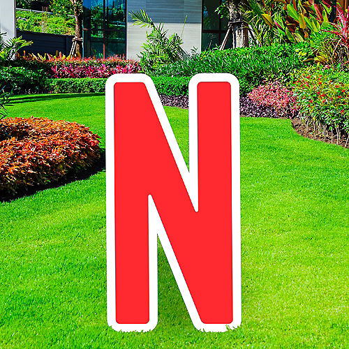Giant Red Corrugated Plastic Letter (N) Yard Sign, 30in Image #1