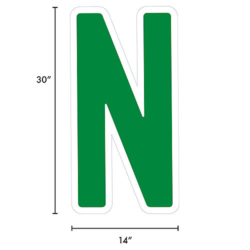 Giant Festive Green Corrugated Plastic Letter (N) Yard Sign, 30in Image #2