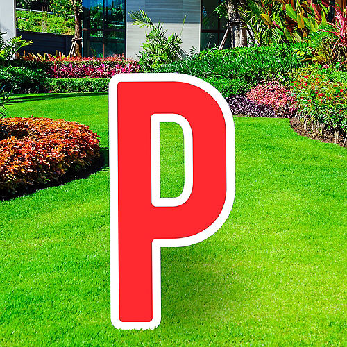 Giant Red Corrugated Plastic Letter (P) Yard Sign, 30in Image #1
