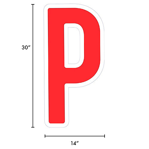 Giant Red Corrugated Plastic Letter (P) Yard Sign, 30in Image #2