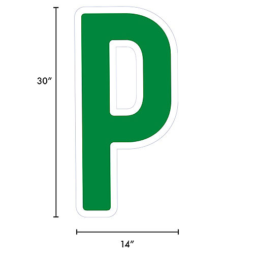 Giant Festive Green Corrugated Plastic Letter (P) Yard Sign, 30in Image #2