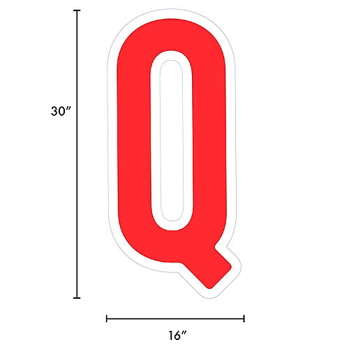Giant Red Corrugated Plastic Letter (Q) Yard Sign, 30in Image #2