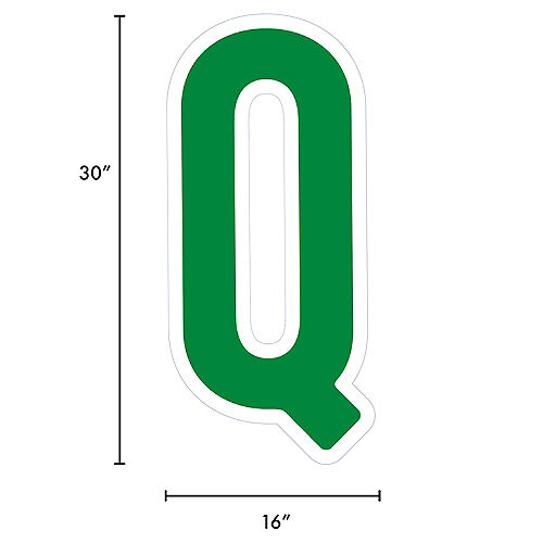 Giant Festive Green Corrugated Plastic Letter (Q) Yard Sign, 30in Image #2