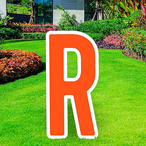 Giant Orange Corrugated Plastic Letter (R) Yard Sign, 30in Image #1