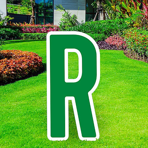 Giant Festive Green Corrugated Plastic Letter (R) Yard Sign, 30in Image #1
