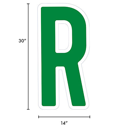 Giant Festive Green Corrugated Plastic Letter (R) Yard Sign, 30in Image #2