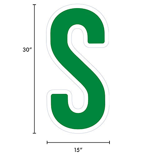 Giant Festive Green Corrugated Plastic Letter (S) Yard Sign, 30in Image #2