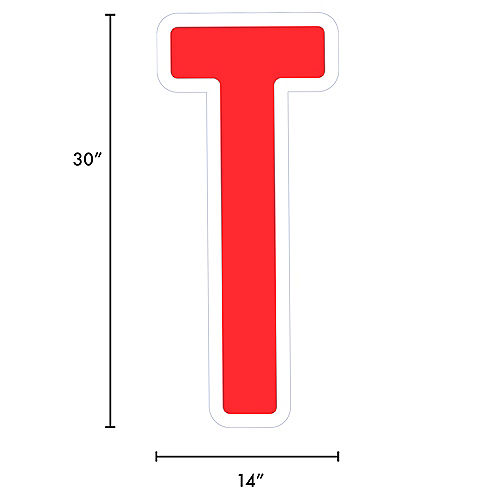 Giant Red Corrugated Plastic Letter (T) Yard Sign, 30in Image #2