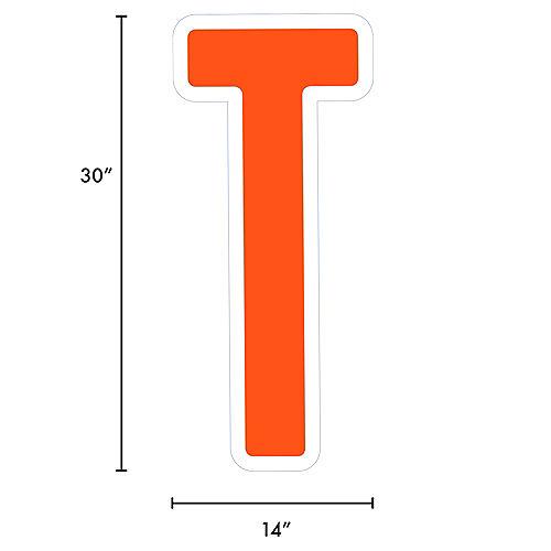 Giant Orange Corrugated Plastic Letter (T) Yard Sign, 30in Image #2